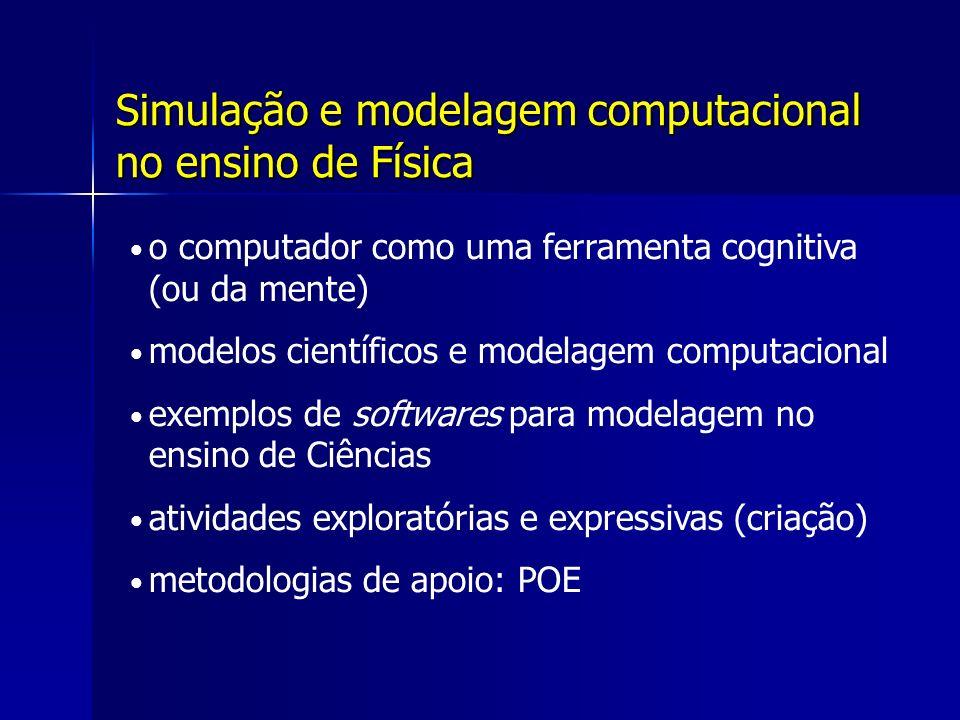 Simulação e modelagem computacional no ensino de Física o computador como uma ferramenta cognitiva (ou da mente) modelos científicos e modelagem computacional exemplos de softwares para modelagem no ensino de Ciências atividades exploratórias e expressivas (criação) metodologias de apoio: POE