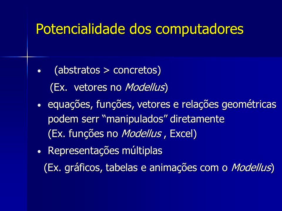 Potencialidade dos computadores (abstratos > concretos) (abstratos > concretos) (Ex.