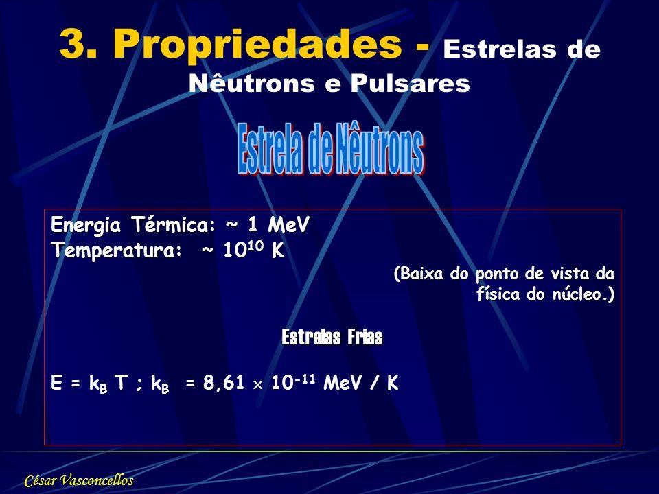3. Propriedades - Estrelas de Nêutrons e Pulsares Energia Térmica: ~ 1 MeV Temperatura: ~ 10 10 K (Baixa do ponto de vista da (Baixa do ponto de vista