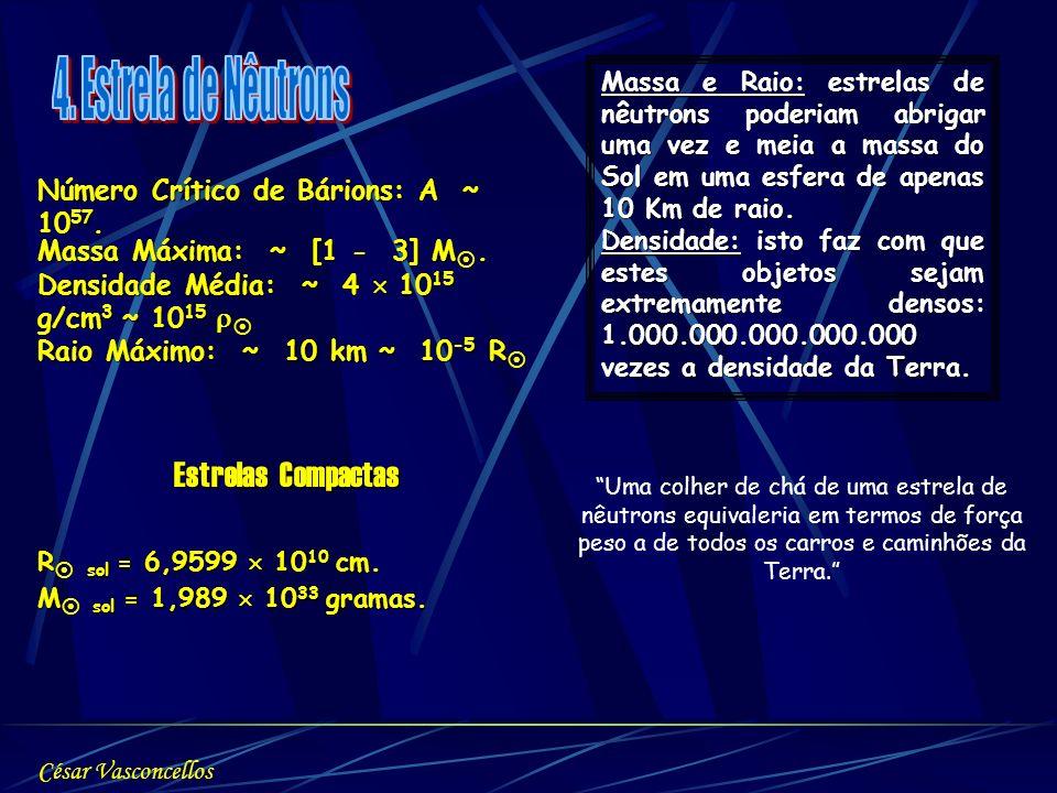Número Crítico de Bárions: A ~ 10 57. Massa Máxima: ~ [1 - 3] M. Massa Máxima: ~ [1 - 3] M. Densidade Média: ~ 4 10 15 g/cm 3 ~ 10 15 Densidade Média: