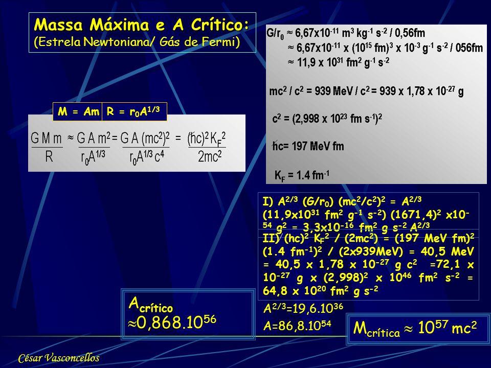 Massa Máxima e A Crítico: (Estrela Newtoniana/ Gás de Fermi) M = AmR = r 0 A 1/3 I) A 2/3 (G/r 0 ) (mc 2 /c 2 ) 2 = A 2/3 (11,9x10 31 fm 2 g -1 s -2 )