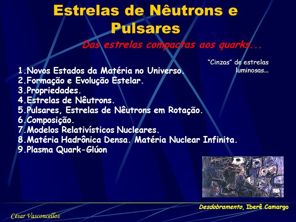 Estrelas de Nêutrons e Pulsares Desdobramento, Iberê Camargo Das estrelas compactas aos quarks... Cinzas de estrelas luminosas... 1.Novos Estados da M