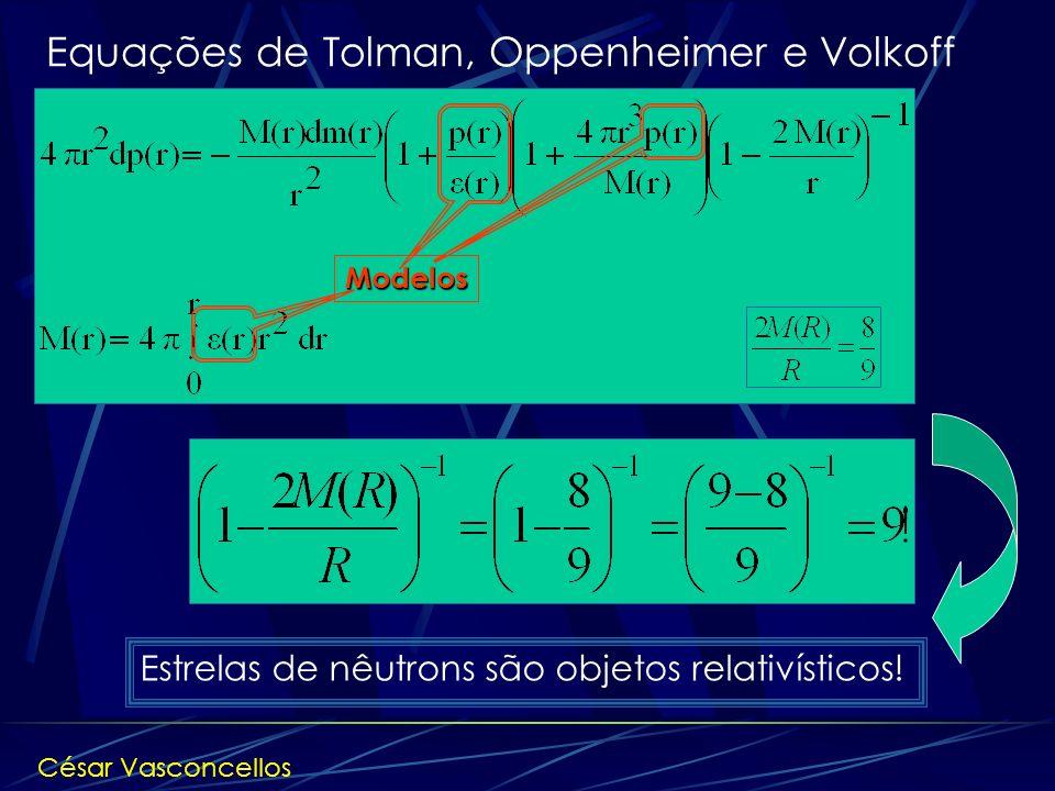 Estrelas de nêutrons são objetos relativísticos! Equações de Tolman, Oppenheimer e Volkoff Modelos César Vasconcellos