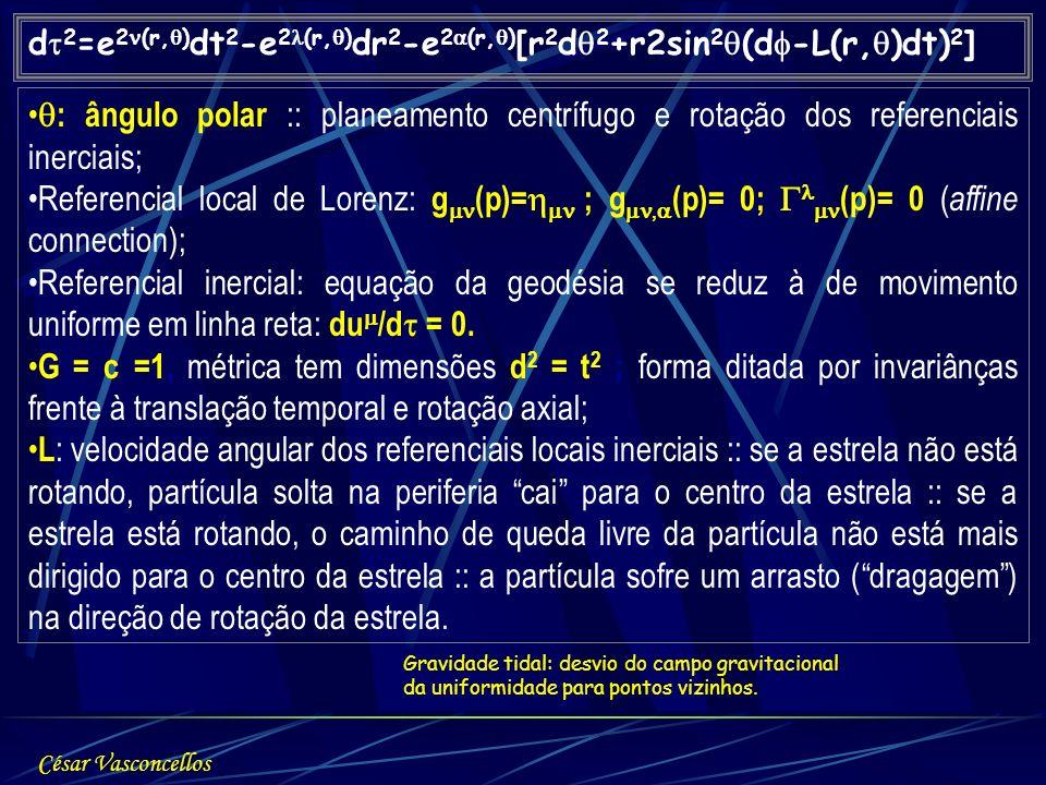 d 2 =e 2 (r, ) dt 2 -e 2 (r, ) dr 2 -e 2 (r, ) [r 2 d 2 +r2sin 2 (d -L(r, )dt) 2 ] : ângulo polar :: planeamento centrífugo e rotação dos referenciais