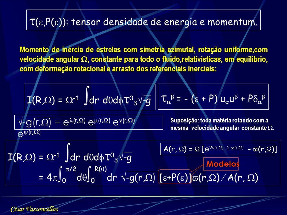 I(R, ) = -1 dr d d 0 3 -g Momento de inércia de estrelas com simetria azimutal, rotação uniforme,com velocidade angular, constante para todo o fluido,