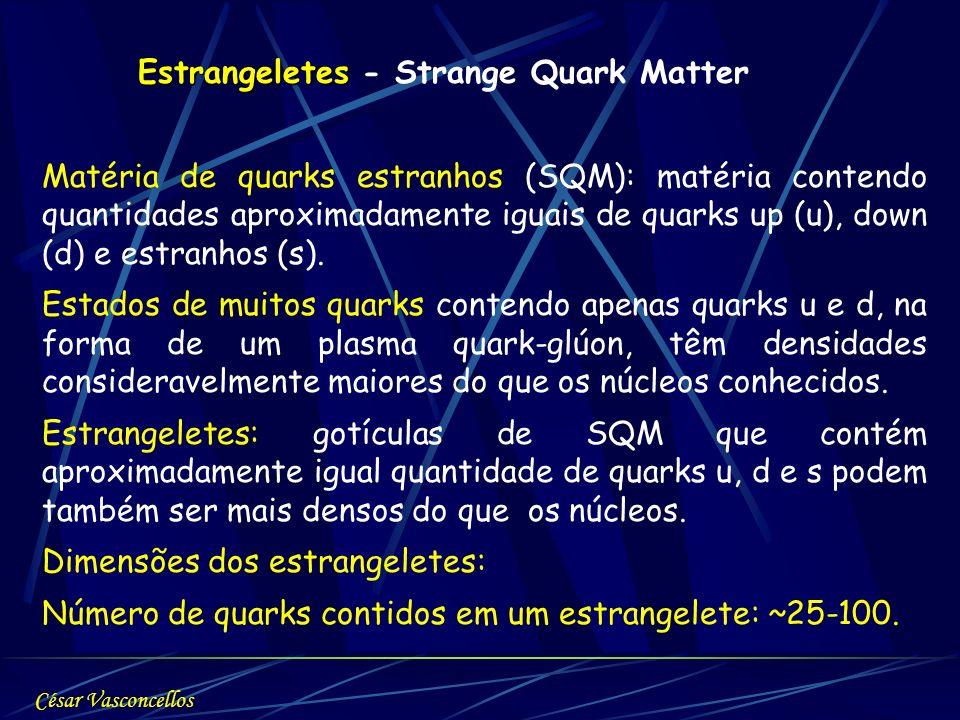 Estrangeletes Estrangeletes - Strange Quark Matter Matéria de quarks estranhos (SQM): matéria contendo quantidades aproximadamente iguais de quarks up