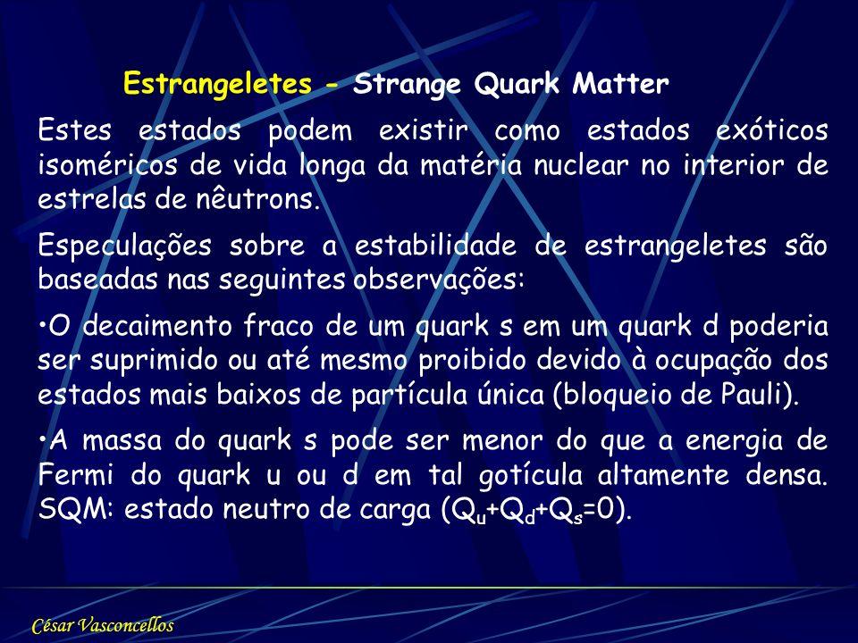 Estrangeletes - Strange Quark Matter Estes estados podem existir como estados exóticos isoméricos de vida longa da matéria nuclear no interior de estr