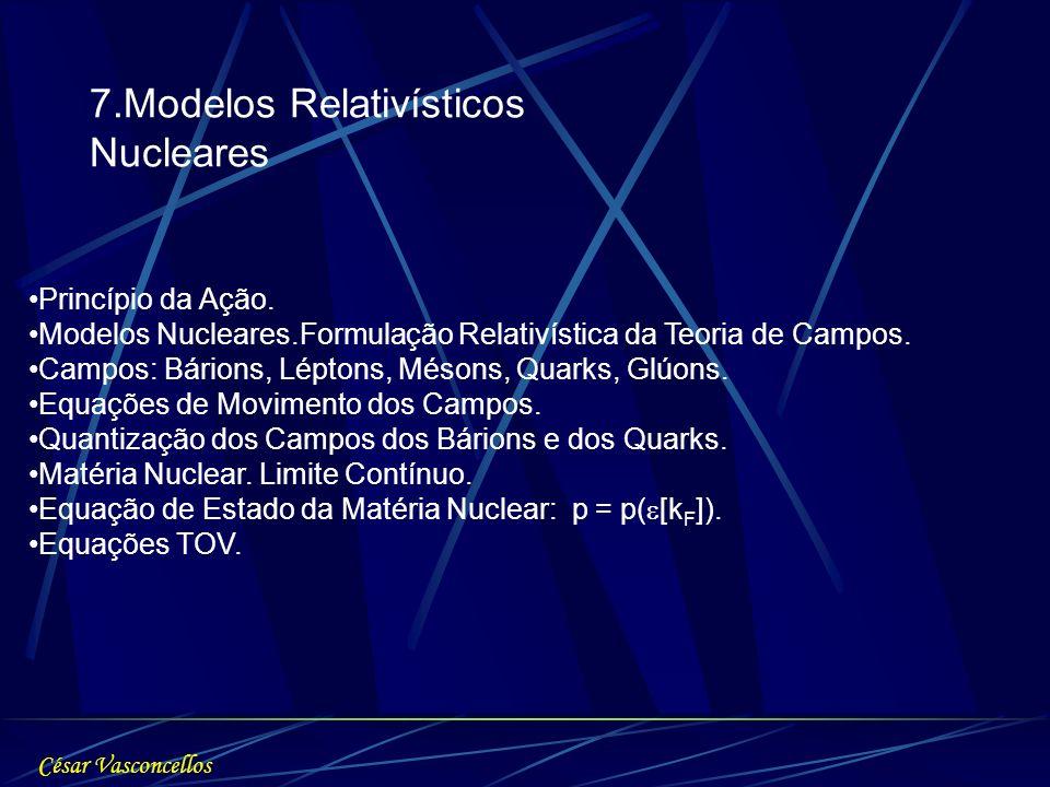 7.Modelos Relativísticos Nucleares Princípio da Ação. Modelos Nucleares.Formulação Relativística da Teoria de Campos. Campos: Bárions, Léptons, Mésons