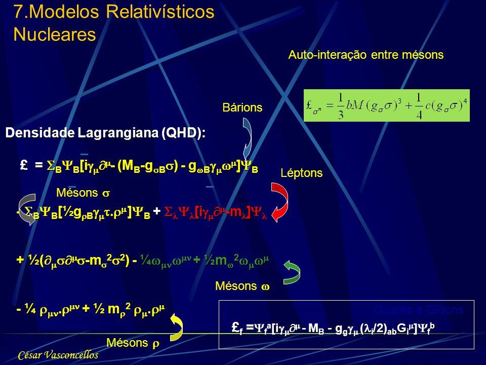 Densidade Lagrangiana (QHD): £ = B B [i - (M B -g B ) - g B ] B £ = B B [i - (M B -g B ) - g B ] B - B B [½g B. ] B + [i -m ] - B B [½g B. ] B + [i -m