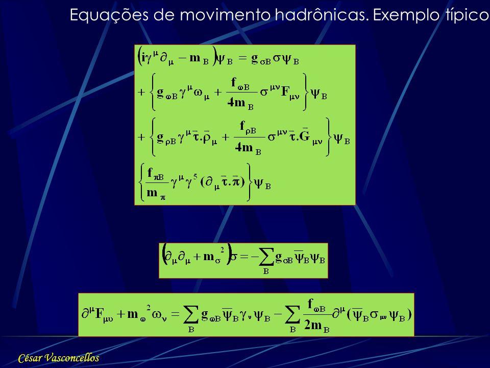 Equações de movimento hadrônicas. Exemplo típico: César Vasconcellos