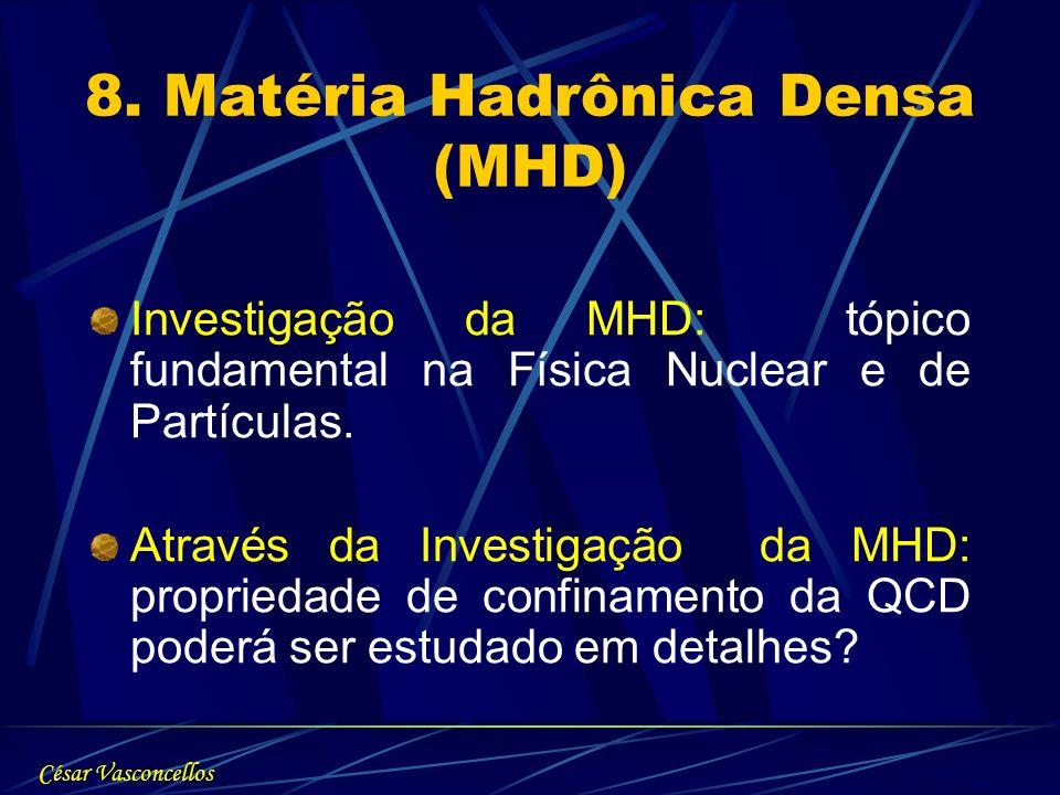 8. Matéria Hadrônica Densa (MHD) Investigação da MHD: tópico fundamental na Física Nuclear e de Partículas. Através da Investigação da MHD: propriedad
