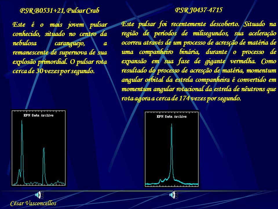 PSR B0531+21, Pulsar Crab Este é o mais jovem pulsar conhecido, situado no centro da nebulosa caranguejo, a remanescente de supernova de sua explosão