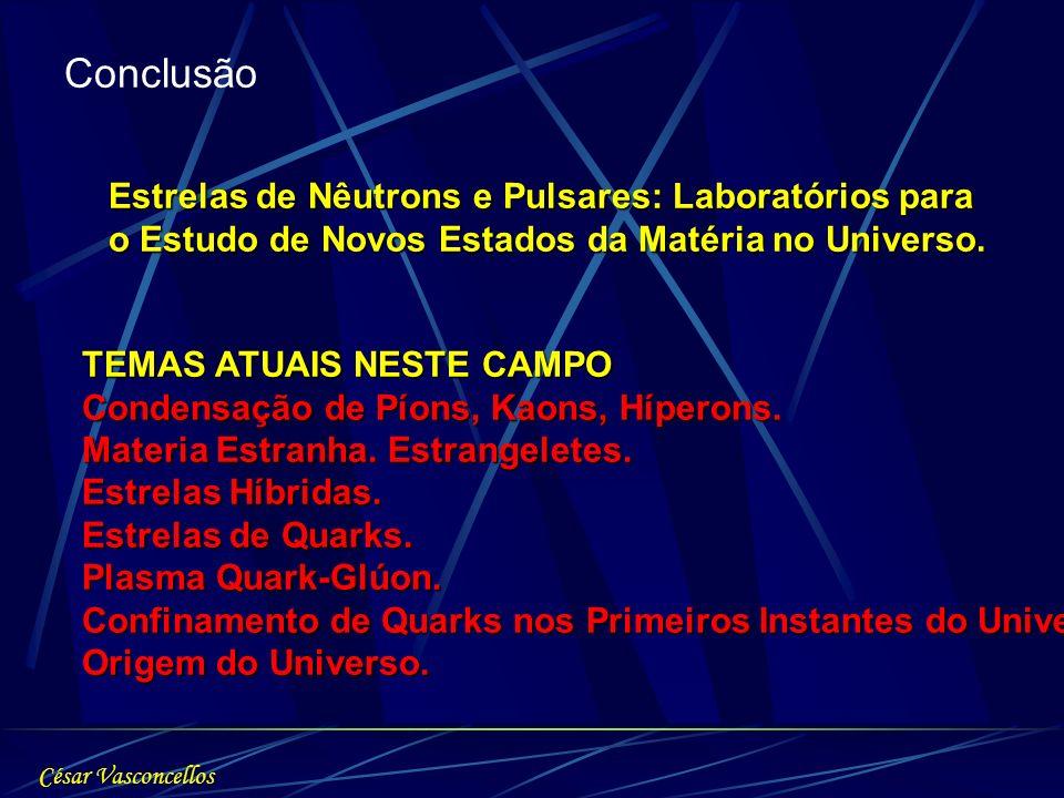 Conclusão TEMAS ATUAIS NESTE CAMPO Condensação de Píons, Kaons, Híperons. Materia Estranha. Estrangeletes. Estrelas Híbridas. Estrelas de Quarks. Plas