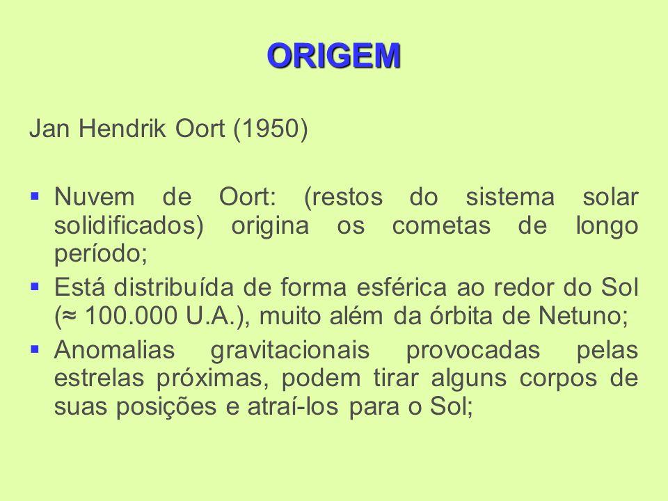 ORIGEM Jan Hendrik Oort (1950) Nuvem de Oort: (restos do sistema solar solidificados) origina os cometas de longo período; Está distribuída de forma esférica ao redor do Sol ( 100.000 U.A.), muito além da órbita de Netuno; Anomalias gravitacionais provocadas pelas estrelas próximas, podem tirar alguns corpos de suas posições e atraí-los para o Sol;