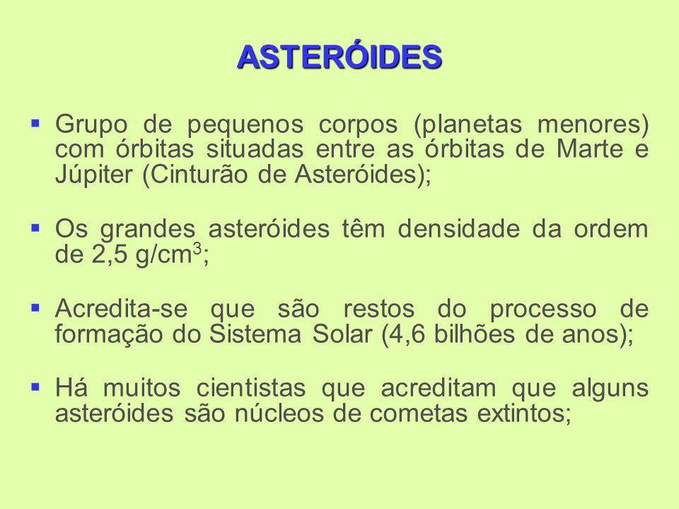 ASTERÓIDES Grupo de pequenos corpos (planetas menores) com órbitas situadas entre as órbitas de Marte e Júpiter (Cinturão de Asteróides); Os grandes asteróides têm densidade da ordem de 2,5 g/cm 3 ; Acredita-se que são restos do processo de formação do Sistema Solar (4,6 bilhões de anos); Há muitos cientistas que acreditam que alguns asteróides são núcleos de cometas extintos;