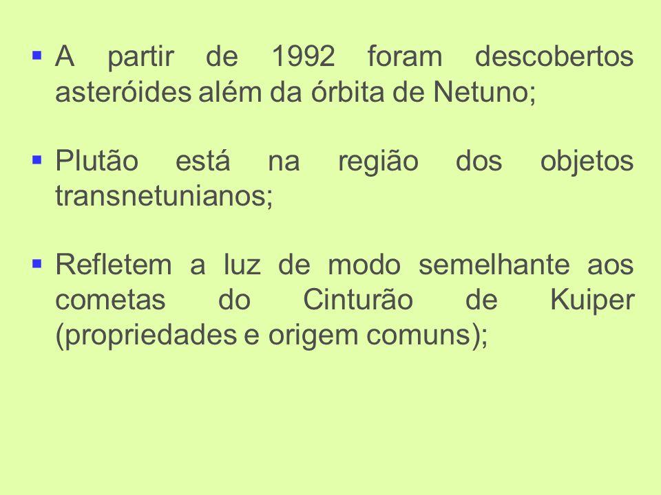 A partir de 1992 foram descobertos asteróides além da órbita de Netuno; Plutão está na região dos objetos transnetunianos; Refletem a luz de modo semelhante aos cometas do Cinturão de Kuiper (propriedades e origem comuns);