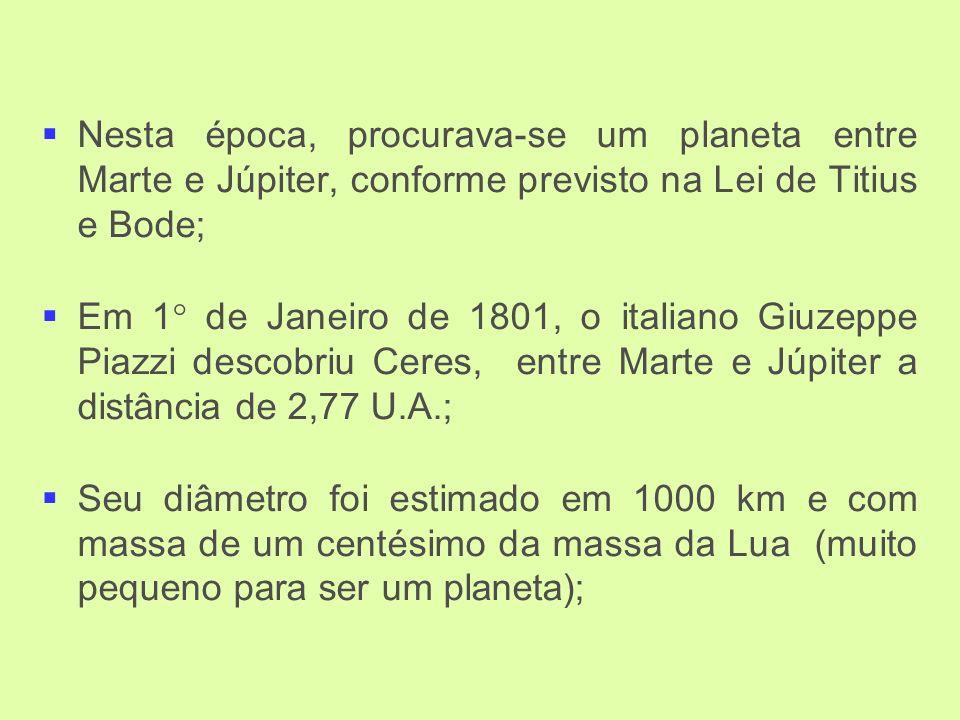 Nesta época, procurava-se um planeta entre Marte e Júpiter, conforme previsto na Lei de Titius e Bode; Em 1 de Janeiro de 1801, o italiano Giuzeppe Piazzi descobriu Ceres, entre Marte e Júpiter a distância de 2,77 U.A.; Seu diâmetro foi estimado em 1000 km e com massa de um centésimo da massa da Lua (muito pequeno para ser um planeta);