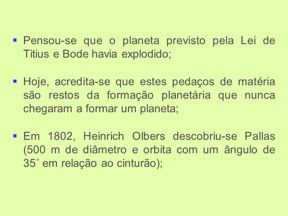 Pensou-se que o planeta previsto pela Lei de Titius e Bode havia explodido; Hoje, acredita-se que estes pedaços de matéria são restos da formação planetária que nunca chegaram a formar um planeta; Em 1802, Heinrich Olbers descobriu-se Pallas (500 m de diâmetro e orbita com um ângulo de 35˚ em relação ao cinturão);