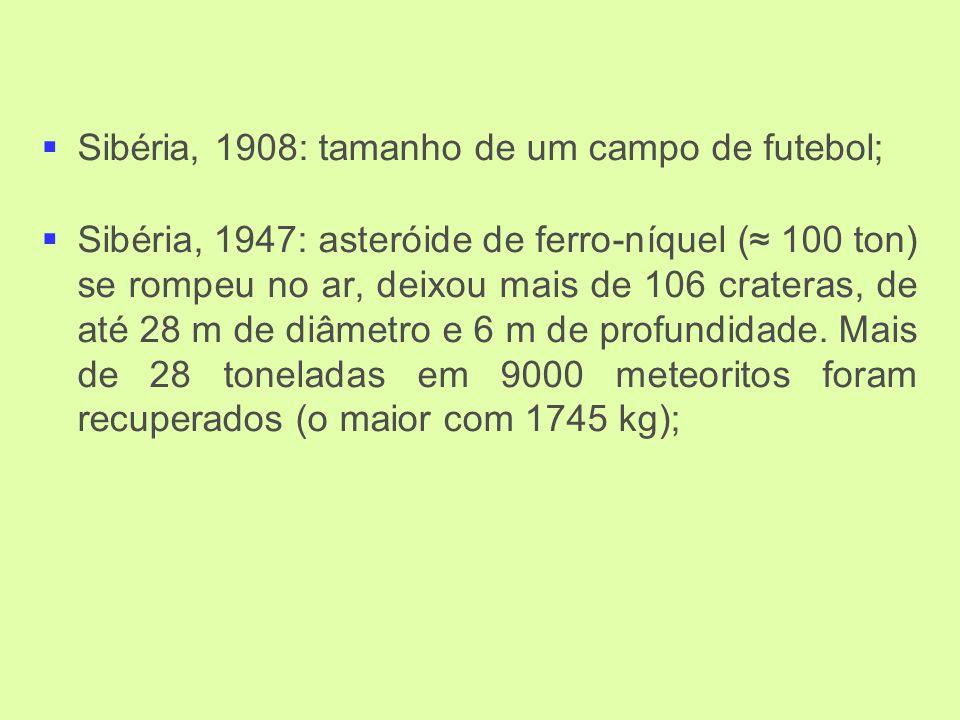Sibéria, 1908: tamanho de um campo de futebol; Sibéria, 1947: asteróide de ferro-níquel ( 100 ton) se rompeu no ar, deixou mais de 106 crateras, de até 28 m de diâmetro e 6 m de profundidade.