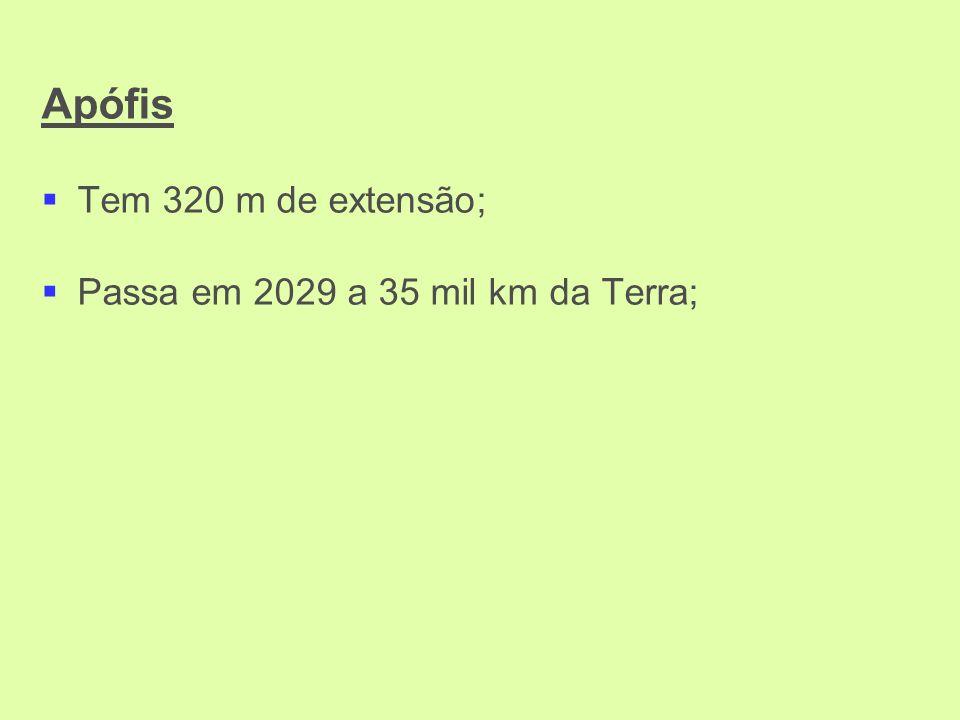 Apófis Tem 320 m de extensão; Passa em 2029 a 35 mil km da Terra;
