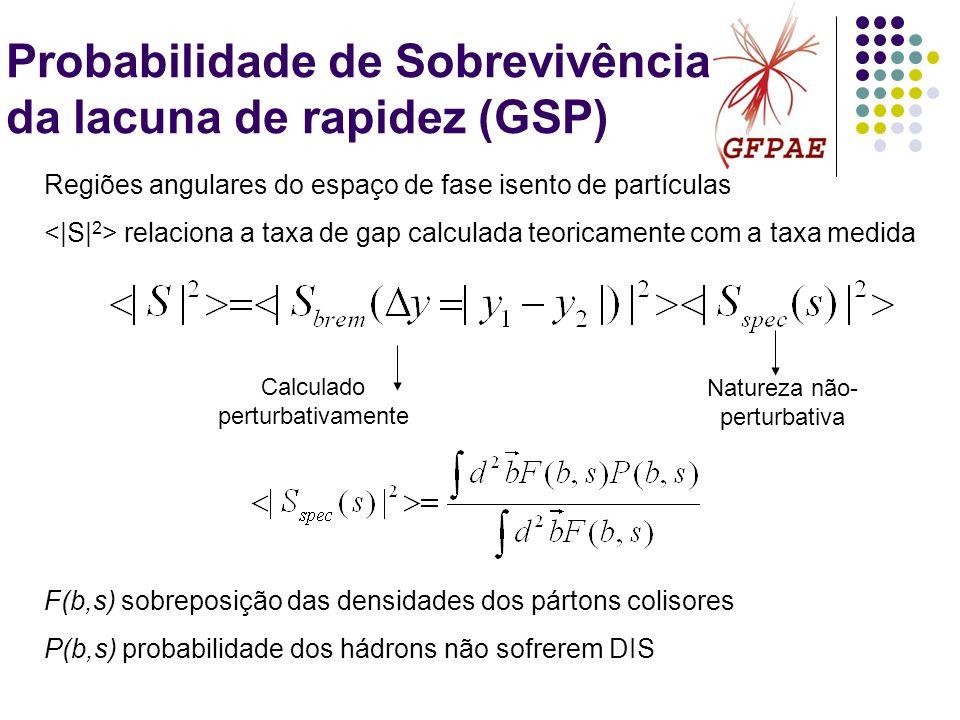 Probabilidade de Sobrevivência da lacuna de rapidez (GSP) Calculado perturbativamente Natureza não- perturbativa Regiões angulares do espaço de fase i
