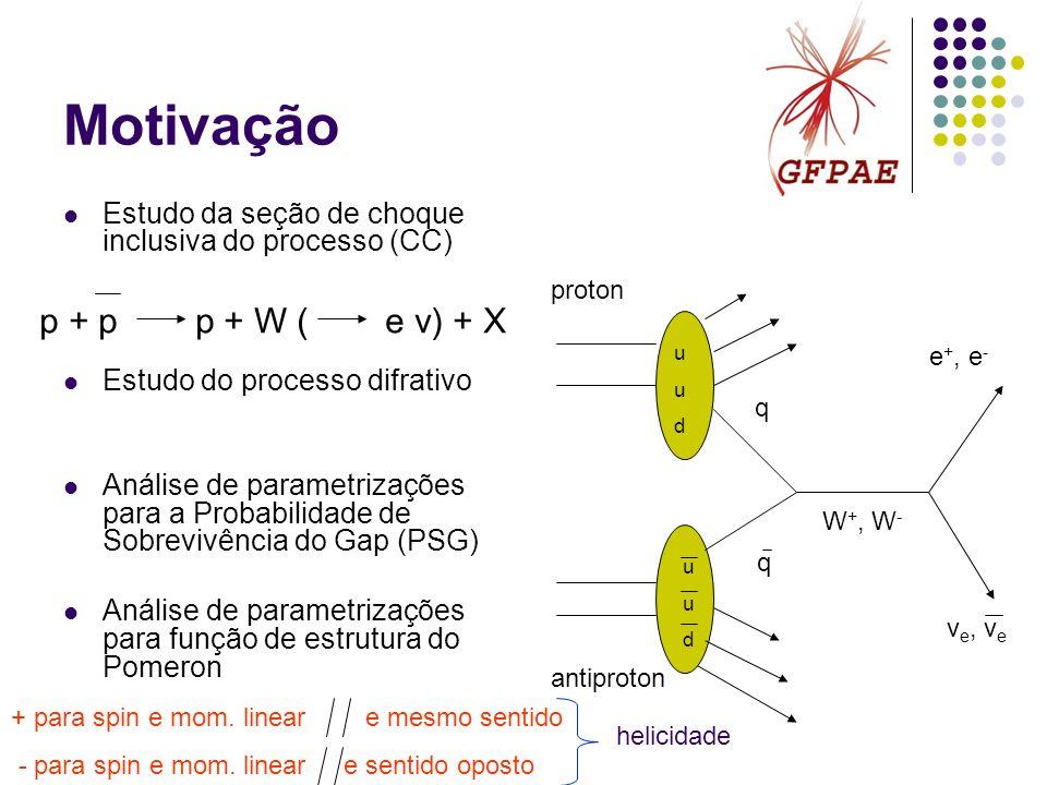 Motivação Estudo da seção de choque inclusiva do processo (CC) Estudo do processo difrativo Análise de parametrizações para a Probabilidade de Sobrevi