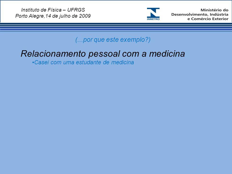 Instituto de Física – UFRGS Porto Alegre,14 de julho de 2009 Relacionamento pessoal com a medicina Casei com uma estudante de medicina (...por que este exemplo?)
