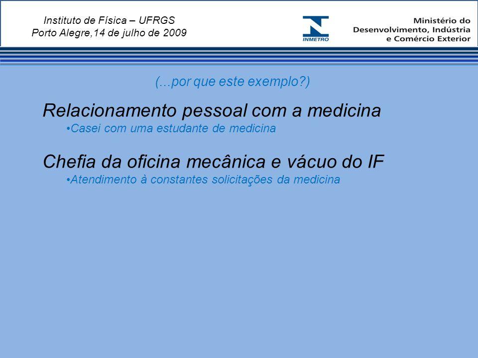 Instituto de Física – UFRGS Porto Alegre,14 de julho de 2009 Relacionamento pessoal com a medicina Casei com uma estudante de medicina Chefia da oficina mecânica e vácuo do IF Atendimento à constantes solicitações da medicina (...por que este exemplo?)