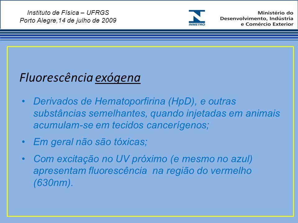 Instituto de Física – UFRGS Porto Alegre,14 de julho de 2009 Derivados de Hematoporfirina (HpD), e outras substâncias semelhantes, quando injetadas em animais acumulam-se em tecidos cancerígenos; Em geral não são tóxicas; Com excitação no UV próximo (e mesmo no azul) apresentam fluorescência na região do vermelho (630nm).