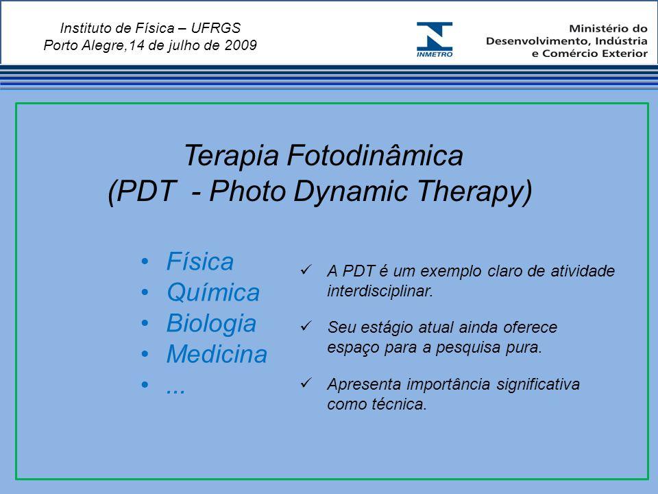 Instituto de Física – UFRGS Porto Alegre,14 de julho de 2009 Terapia Fotodinâmica (PDT - Photo Dynamic Therapy) Física Química Biologia Medicina...