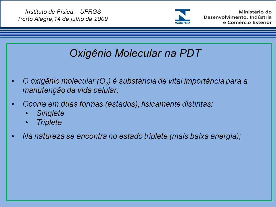 Instituto de Física – UFRGS Porto Alegre,14 de julho de 2009 O oxigênio molecular (O 2 ) é substância de vital importância para a manutenção da vida celular; Ocorre em duas formas (estados), fisicamente distintas: Singlete Triplete Na natureza se encontra no estado triplete (mais baixa energia); Oxigênio Molecular na PDT