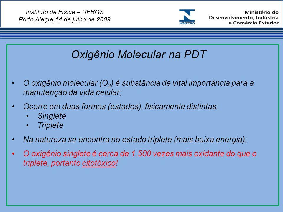 Instituto de Física – UFRGS Porto Alegre,14 de julho de 2009 O oxigênio molecular (O 2 ) é substância de vital importância para a manutenção da vida celular; Ocorre em duas formas (estados), fisicamente distintas: Singlete Triplete Na natureza se encontra no estado triplete (mais baixa energia); O oxigênio singlete é cerca de 1.500 vezes mais oxidante do que o triplete, portanto citotóxico.