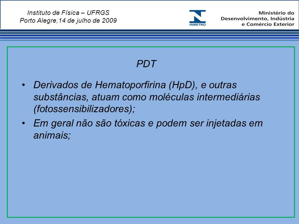 Instituto de Física – UFRGS Porto Alegre,14 de julho de 2009 Derivados de Hematoporfirina (HpD), e outras substâncias, atuam como moléculas intermediárias (fotossensibilizadores); Em geral não são tóxicas e podem ser injetadas em animais; PDT