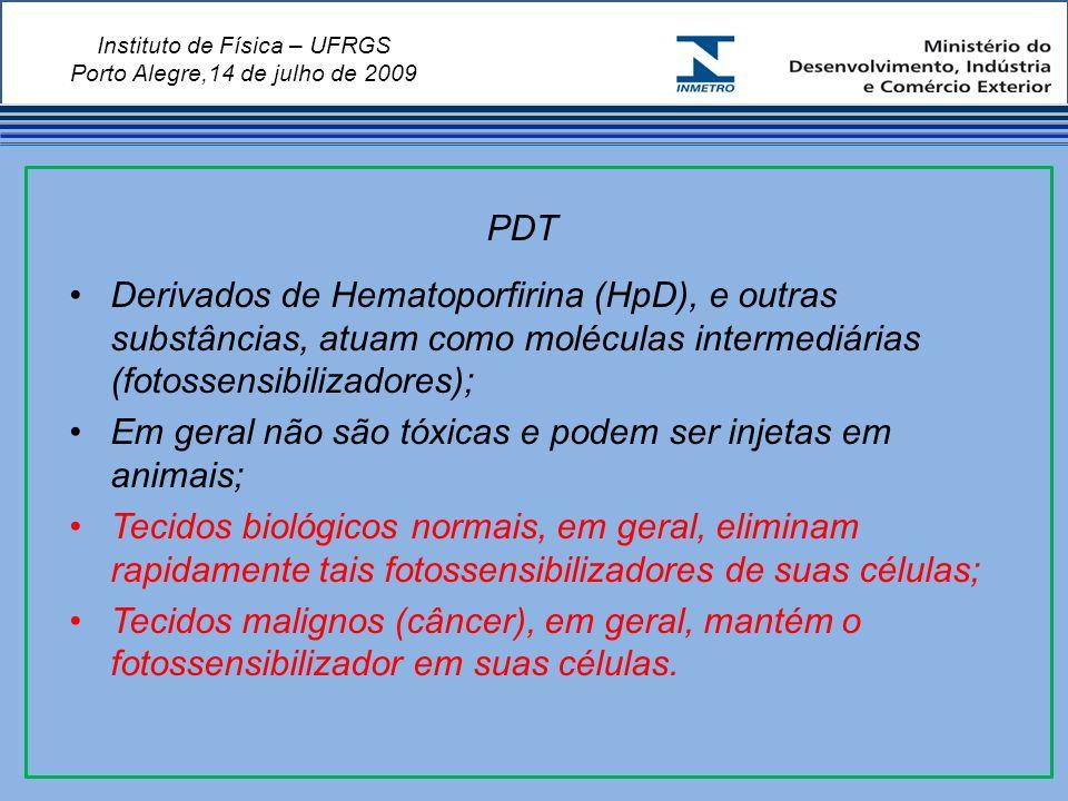 Instituto de Física – UFRGS Porto Alegre,14 de julho de 2009 Derivados de Hematoporfirina (HpD), e outras substâncias, atuam como moléculas intermediárias (fotossensibilizadores); Em geral não são tóxicas e podem ser injetas em animais; Tecidos biológicos normais, em geral, eliminam rapidamente tais fotossensibilizadores de suas células; Tecidos malignos (câncer), em geral, mantém o fotossensibilizador em suas células.