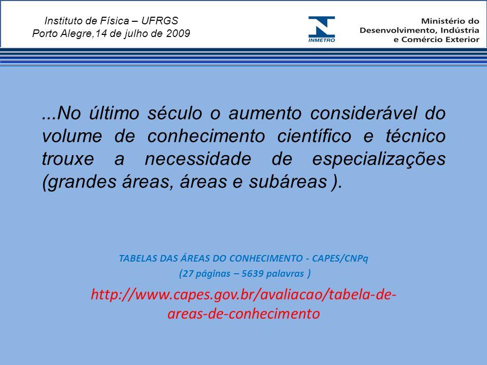 Instituto de Física – UFRGS Porto Alegre,14 de julho de 2009...No último século o aumento considerável do volume de conhecimento científico e técnico trouxe a necessidade de especializações (grandes áreas, áreas e subáreas ).