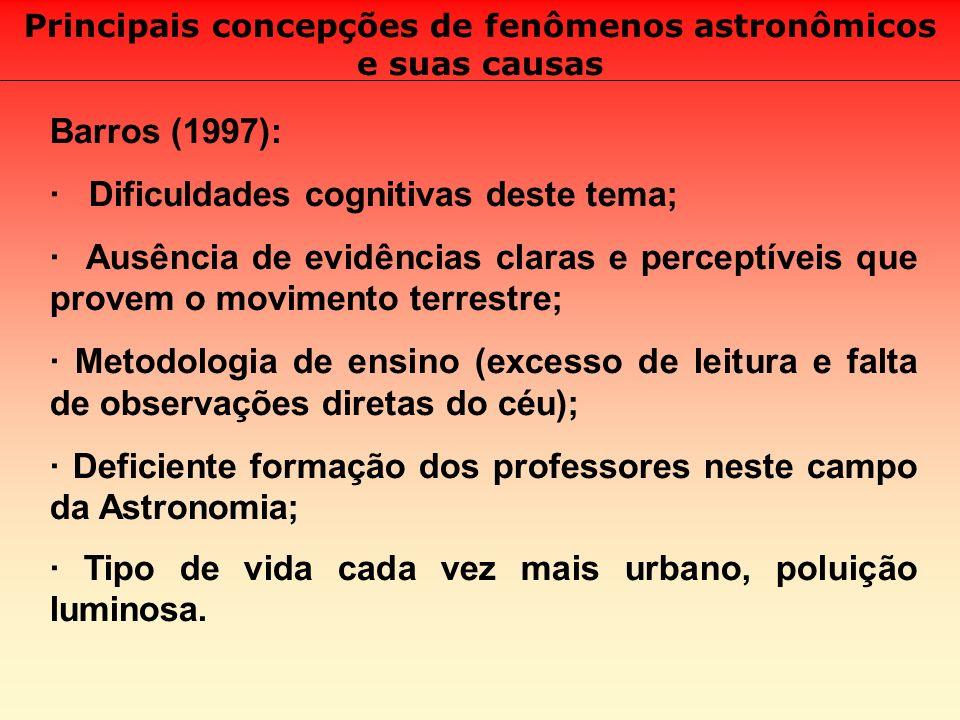 Principais concepções de fenômenos astronômicos e suas causas Barros (1997): · Dificuldades cognitivas deste tema; · Ausência de evidências claras e p