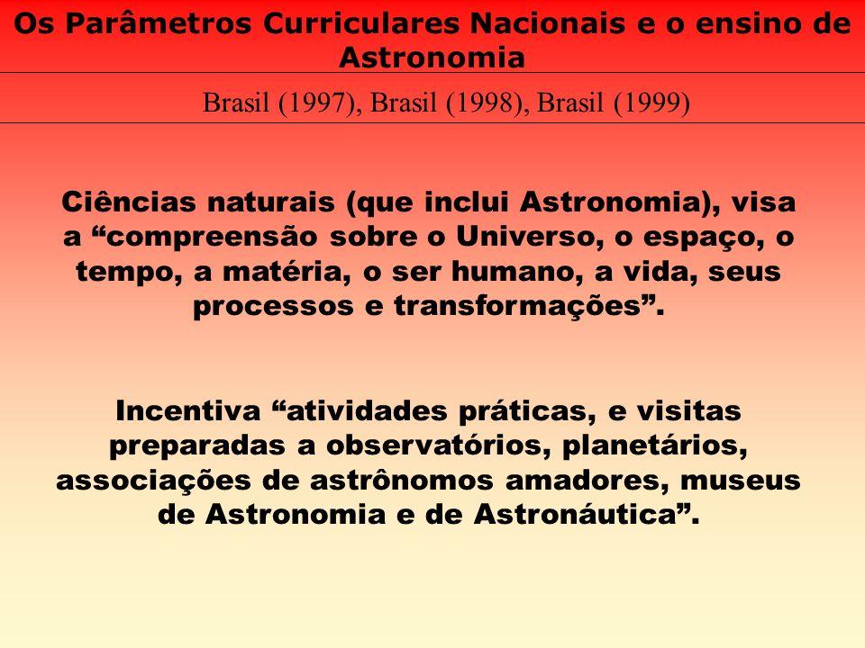 Os Parâmetros Curriculares Nacionais e o ensino de Astronomia Brasil (1997), Brasil (1998), Brasil (1999) Ciências naturais (que inclui Astronomia), v