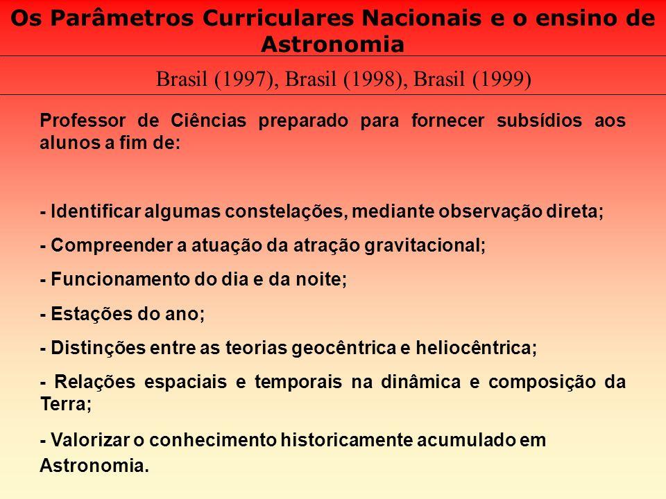 Os Parâmetros Curriculares Nacionais e o ensino de Astronomia Brasil (1997), Brasil (1998), Brasil (1999) Professor de Ciências preparado para fornece