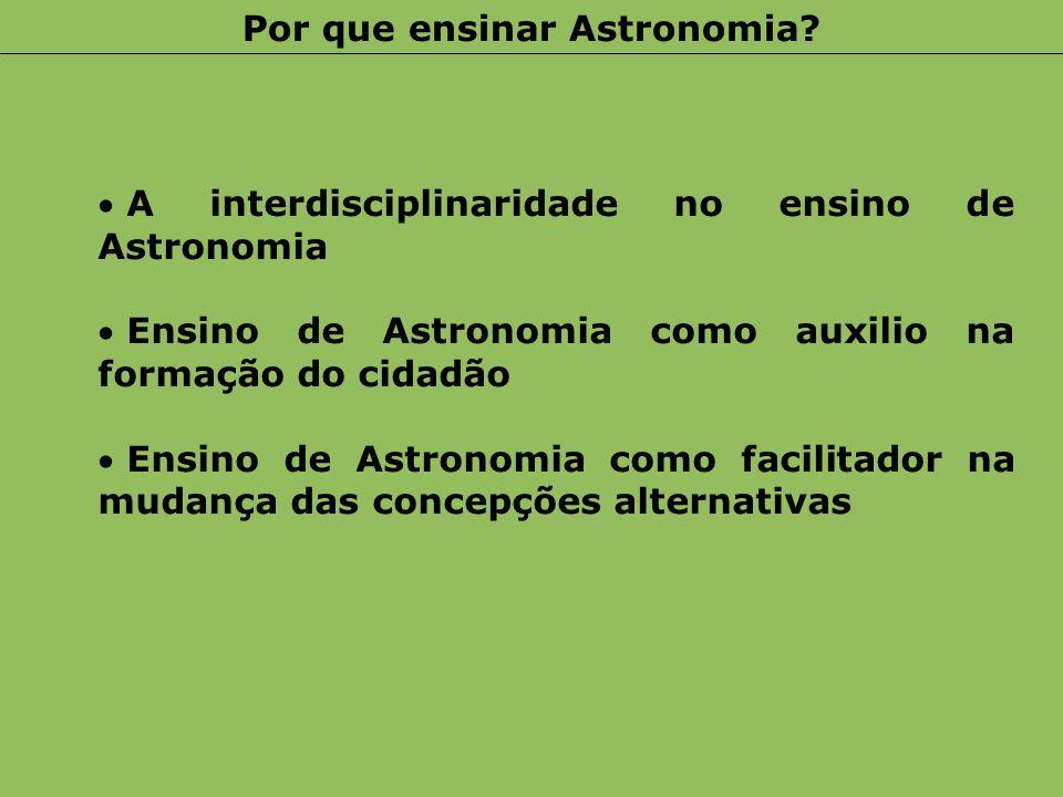 A interdisciplinaridade no ensino de Astronomia Ensino de Astronomia como auxilio na formação do cidadão Ensino de Astronomia como facilitador na muda