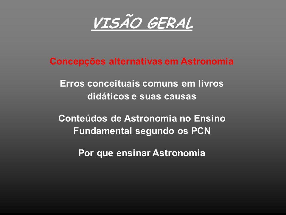 VISÃO GERAL Concepções alternativas em Astronomia Erros conceituais comuns em livros didáticos e suas causas Conteúdos de Astronomia no Ensino Fundame