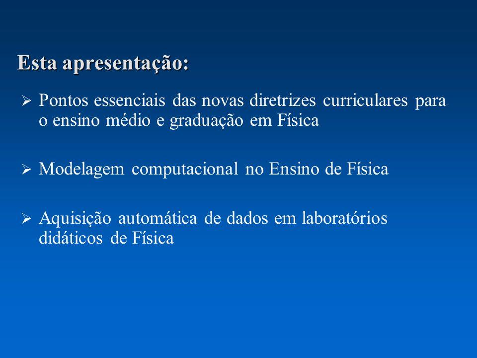 Esta apresentação: Pontos essenciais das novas diretrizes curriculares para o ensino médio e graduação em Física Modelagem computacional no Ensino de