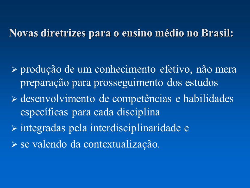 Novas diretrizes para o ensino médio no Brasil: produção de um conhecimento efetivo, não mera preparação para prosseguimento dos estudos desenvolvimento de competências e habilidades específicas para cada disciplina integradas pela interdisciplinaridade e se valendo da contextualização.