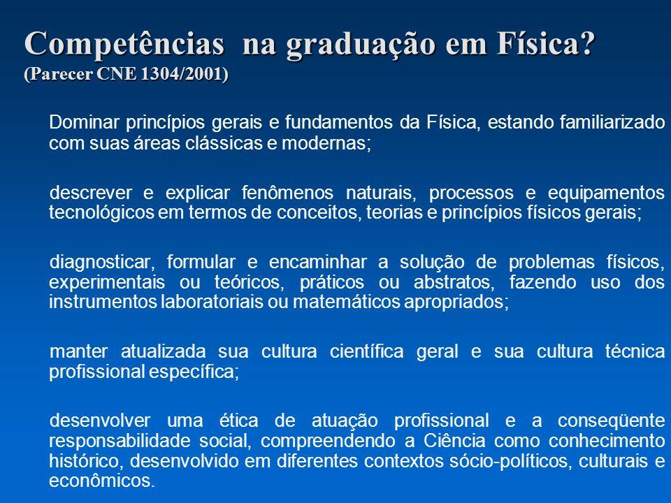 Competências na graduação em Física? (Parecer CNE 1304/2001) Dominar princípios gerais e fundamentos da Física, estando familiarizado com suas áreas c
