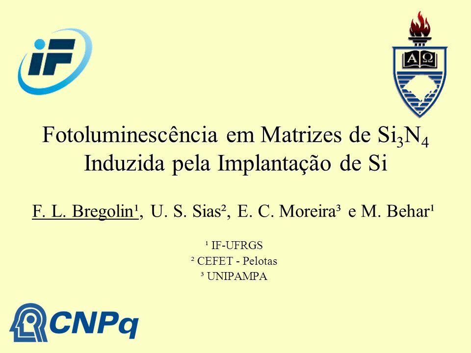 Fotoluminescência em Matrizes de Si 3 N 4 Induzida pela Implantação de Si F. L. Bregolin¹, U. S. Sias², E. C. Moreira³ e M. Behar¹ ¹ IF-UFRGS ² CEFET