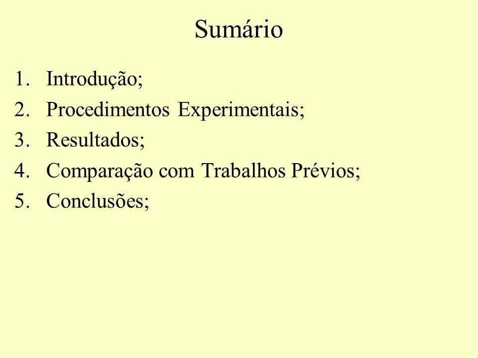 Sumário 1.Introdução; 2.Procedimentos Experimentais; 3.Resultados; 4.Comparação com Trabalhos Prévios; 5.Conclusões;