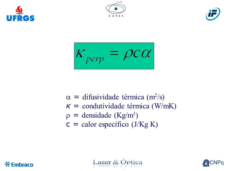 = difusividade térmica (m 2 /s) к = condutividade térmica (W/mK) = densidade (Kg/m 3 ) c = calor específico (J/Kg K)
