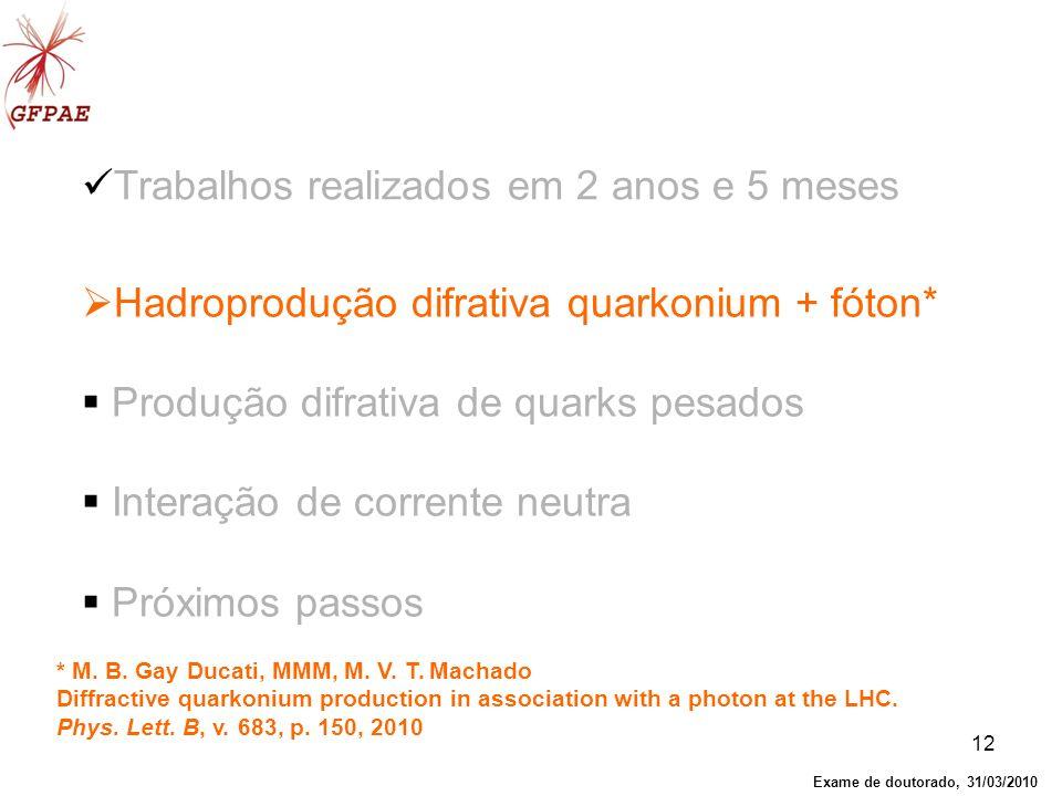 12 Hadroprodução difrativa quarkonium + fóton* Produção difrativa de quarks pesados Interação de corrente neutra Próximos passos Trabalhos realizados