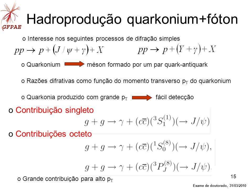 15 o Interesse nos seguintes processos de difração simples Hadroprodução quarkonium+fóton o Quarkonium méson formado por um par quark-antiquark o Razõ