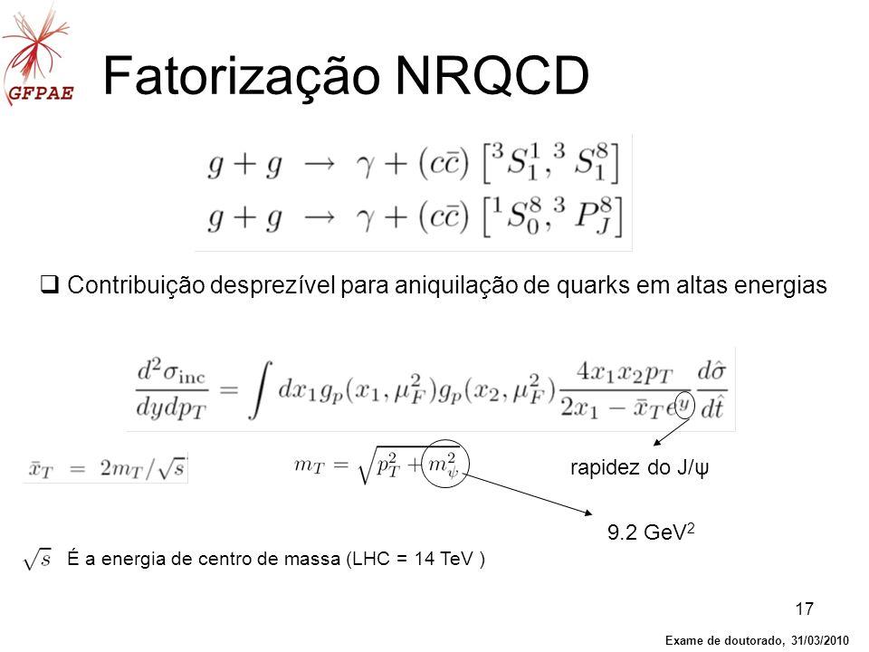 17 Fatorização NRQCD Contribuição desprezível para aniquilação de quarks em altas energias É a energia de centro de massa (LHC = 14 TeV ) rapidez do J