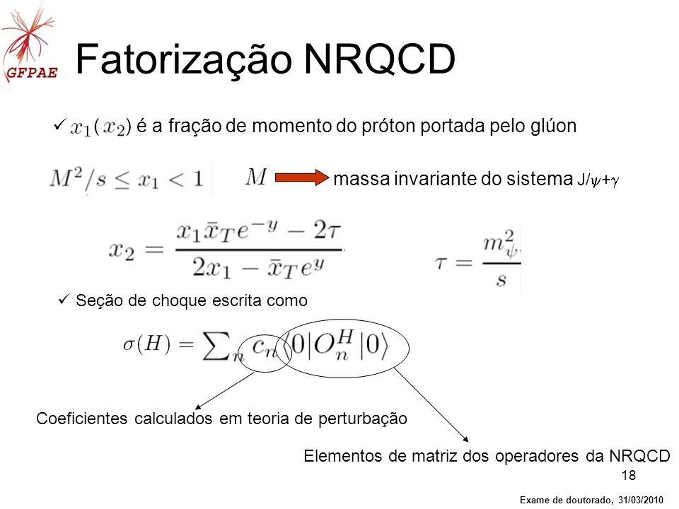 18 ( ) é a fração de momento do próton portada pelo glúon Fatorização NRQCD Seção de choque escrita como massa invariante do sistema J/ + Coeficientes